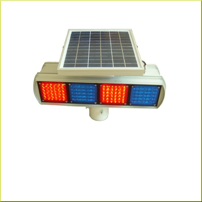 Red And Blue Solar Strobe Light Led Warning Road Beacon with CE Certificates
